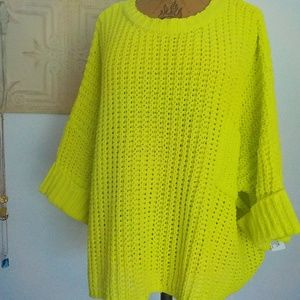 Chartreuse Shaker Knit Slouchy Sweater NWT